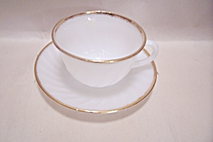 Fire King Golden Anniversary Shell Pattern Cup & Saucer
