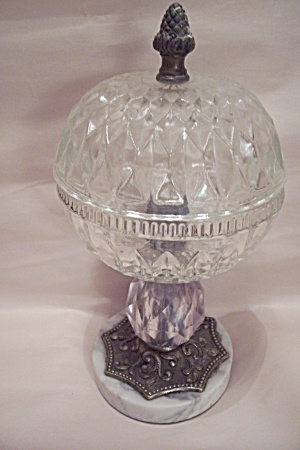 Crystal Galss Pedestal Bowl With Marble Base & Lid (Image1)