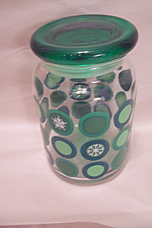 Anchor Hocking Green & Clear Glass Canister