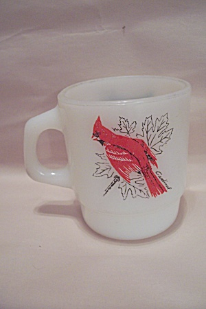 Fire King/anchor Hocking Cardinal & Bluejay Glass Mug