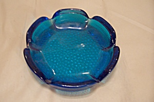 Cobalt Blue Pattern Glass Ash Tray