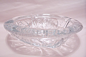 Crystal Glass Rose Pattern Ash Tray