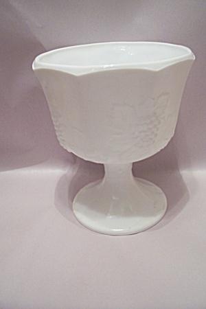 Grape Panel 8-Sided Milk Glass Pedestal Bowl (Image1)