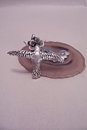 Diamond Faceted Pewter Hummingbird At Flower