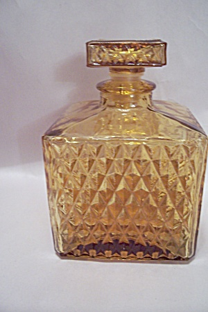 Honey Amber Diamond Pattern Glass Decanter