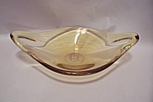 Polish Ocean Lines Vaseline Art Glass Gondola Dish (Image1)