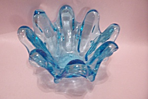 Pair Of Blue Handblown Folded Ar Glass Nesting Bowls (Image1)