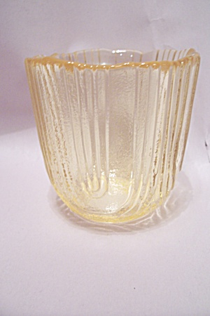 Viking Handblown Vaseline Art Glass Candle Holder (Image1)