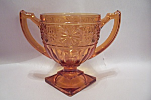 Depression Glass Daisy Pattern Footed Sugar Bowl