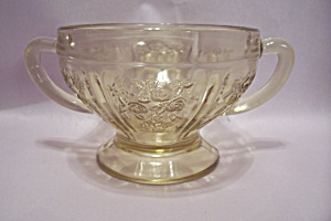 Vaseline Color Depression Glass Footed Sugar Bowl