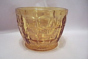Depression Glass Thumbprint Pattern Footed Bowl