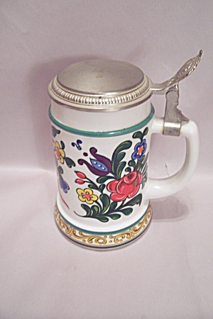 German Bmf Glass Beer Stein W/pewter Lid