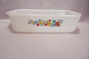 Fire King/Anchor Hocking Flower Decorated Loaf Pan (Image1)