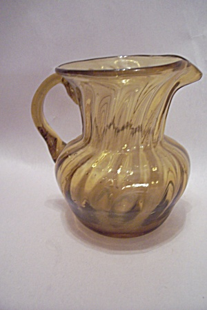 Handblown Small Art Glass Amber Pitcher