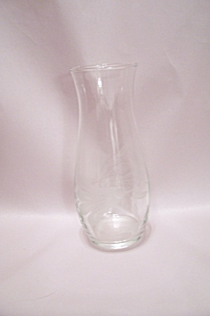Crystal Art Glass Vase With Incised Flower Design