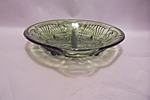 Green Pattern Glass Divided Dish