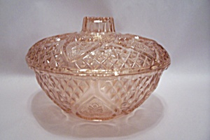 Pink Pattern Glass Candy Dish With Lid