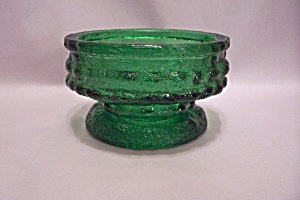 E. O. Brody Green Glass Footed Candle Holder