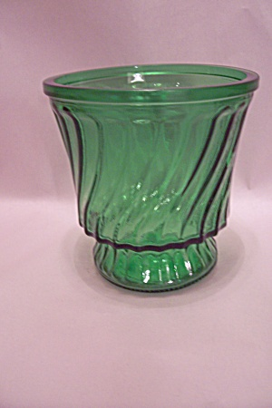 Green Pattern Glass Footed Vase