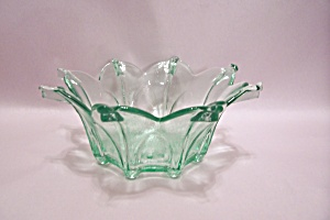 Light Green Art Glass Folded Bowl