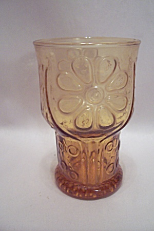 Amber Pattern Glass Pedestal Juice Tumbler