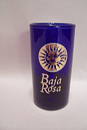 Cobalt Blue Baja Rosa Souvenir Art Glass Shot Glass