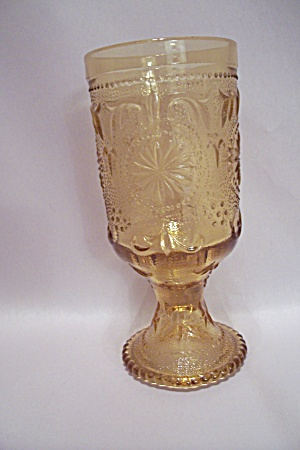 Light Amber Depression Glass Footed Tumbler