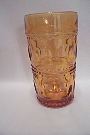 Amber Thumbprint Pattern Glass Tumbler