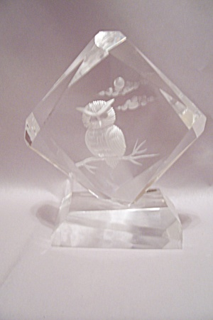 Incised Owl Decorative Faceted Glass Sculpture