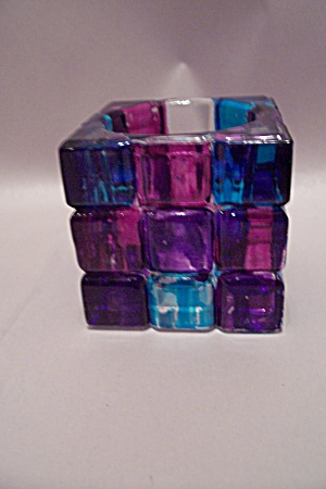 Amethyst & Blue Glass Cube Candle Holder