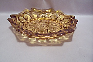 Amber 6-sided Pattern Glass Ash Tray