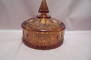 Amber Pattern Glass Lidded Candy Dish