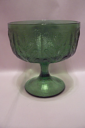 Green Pattern Glass Pedestal Bowl