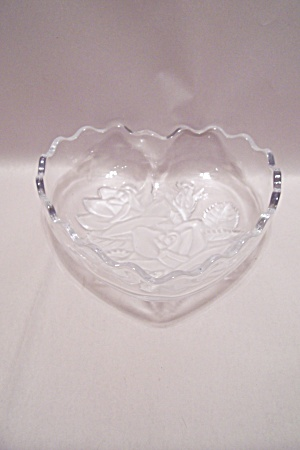 Crystal & Satin Glass Heart Shaped Dish