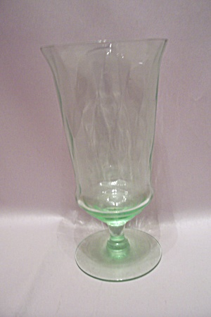 Light Green Footed Depression Glass Tumbler
