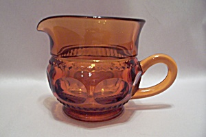 Amber Thumbprint Pattern Glass Creamer