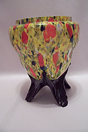 Czechoslovakian Art Glass Footed Bowl (Image1)