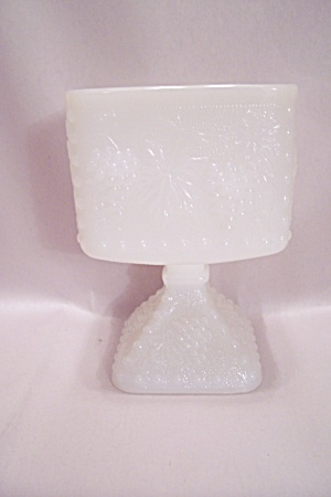 Milk Glass Grape Pattern Pedestal Square Bowl (Image1)
