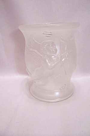 French Satin Art Glass Footed Angel Vase