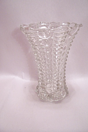 Crystal Depression Pattern Glass Footed Vase