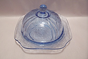 Avon Depression Motif Light Blue Glass Cheese Bowl (Image1)