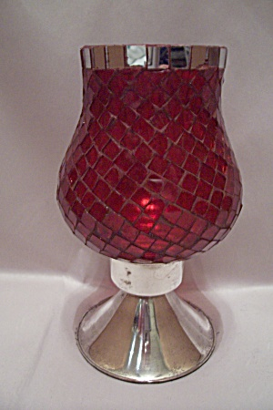 Red Pattern Glass & Silver Plate Candle Holder