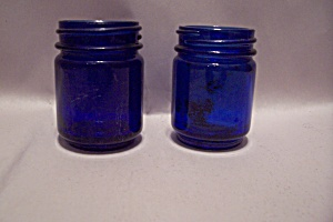 Pair Of Cobalt Blue Bottles