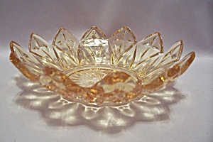 Amber Pattern Glass Candy Dish