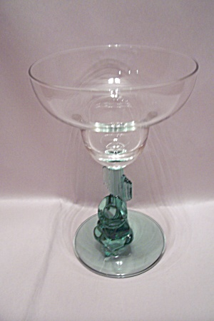 Crystal & Green Art Glass Margarita Glass