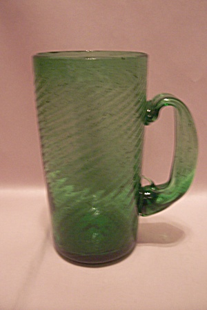 Hand Blown Green Art Glass Mug