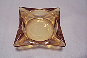 Fire King/Anchor Hocking Square Amber Glass Ash Tray (Image1)