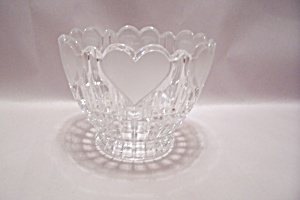 Crystal Pattern Glass Heart Decorated Bowl