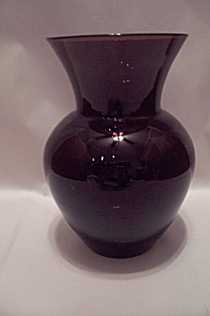 Hand Blown Dark Amethyst Art Glass Vase