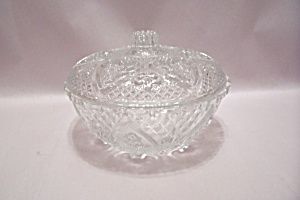Crystal Pattern Glass Candy Dish With Lid